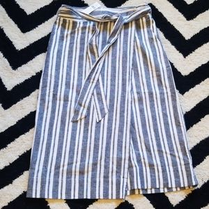 *NWT GAP linen cotton striped wrap skirt